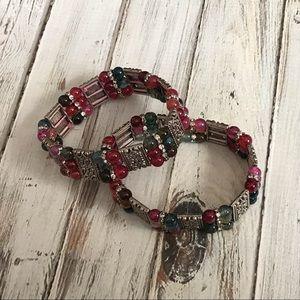 Jewelry - Set of two  silver stone agate stretch bracelets